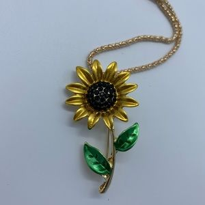 Jewelry - New yellow&green sunflower brooch pendant necklace